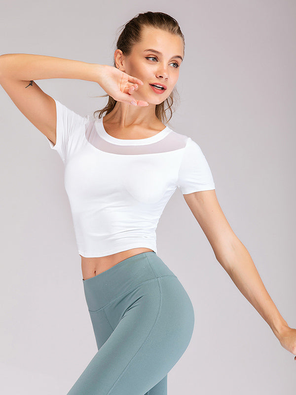 Hollow Solid Wrap Sports Yoga Shirt Tops