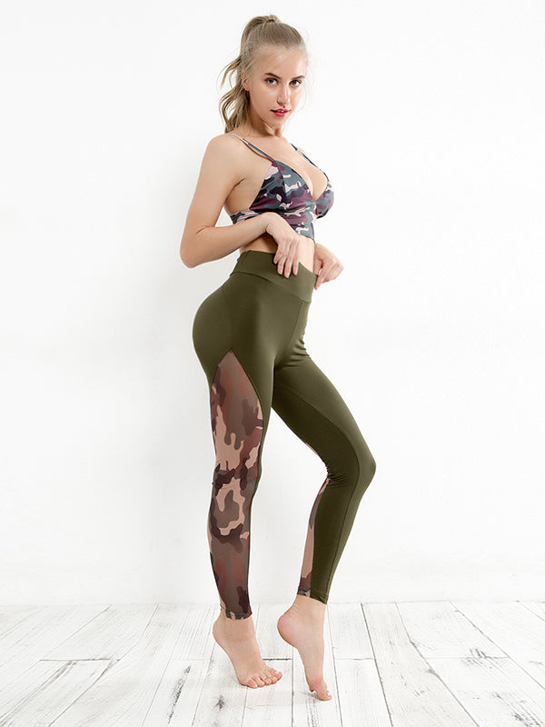 Camo Paneled Gym Leggings