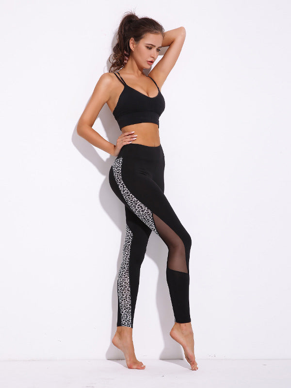 Leopard Print Mesh Insert Workout Leggings