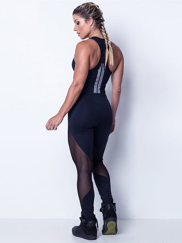 Solid Color Mesh Zipper Tight Jumpsuits
