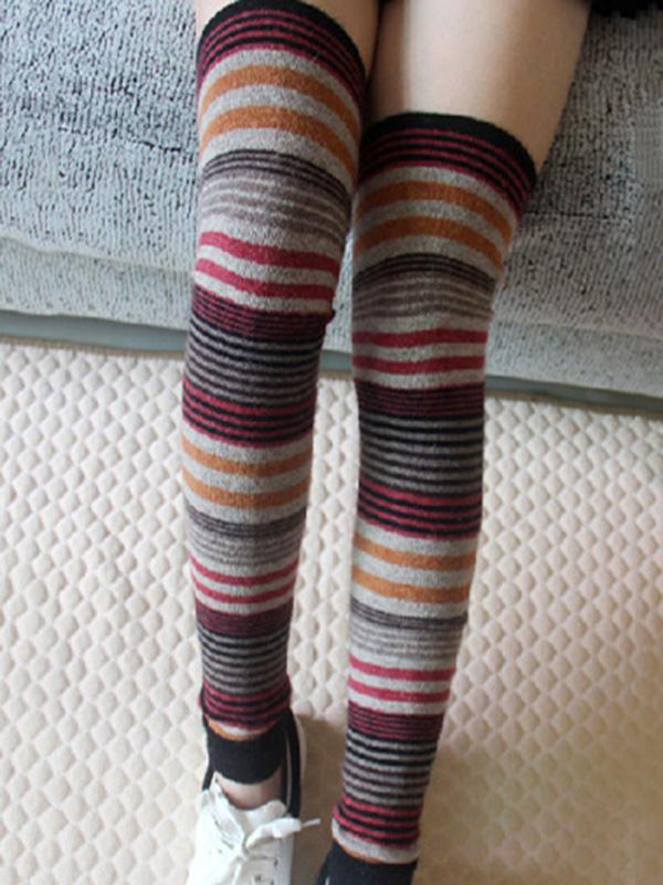 198e4112417 Bohemia 4 Colors Striped Over Knee-high Stocking – modifair