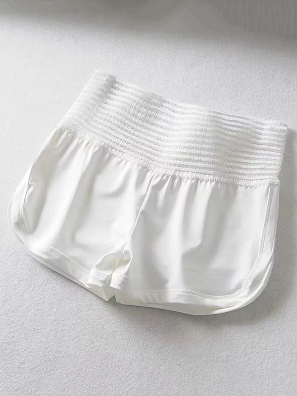 Lace Wide Waistband Sports Shorts