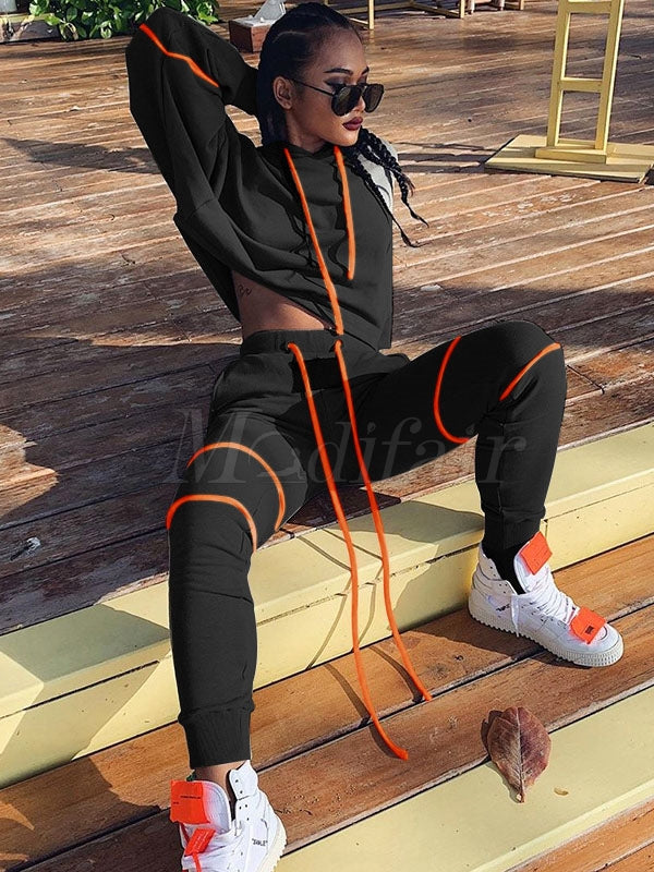 Solid Split-joint Drawstring Hoodie&Pants Sports Suits