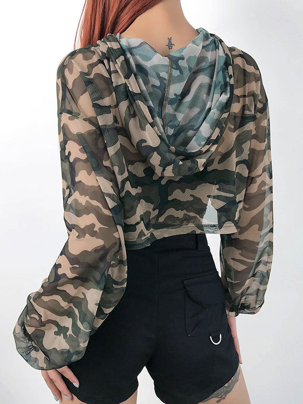 Camo Mesh Long Sleeve Hoodies