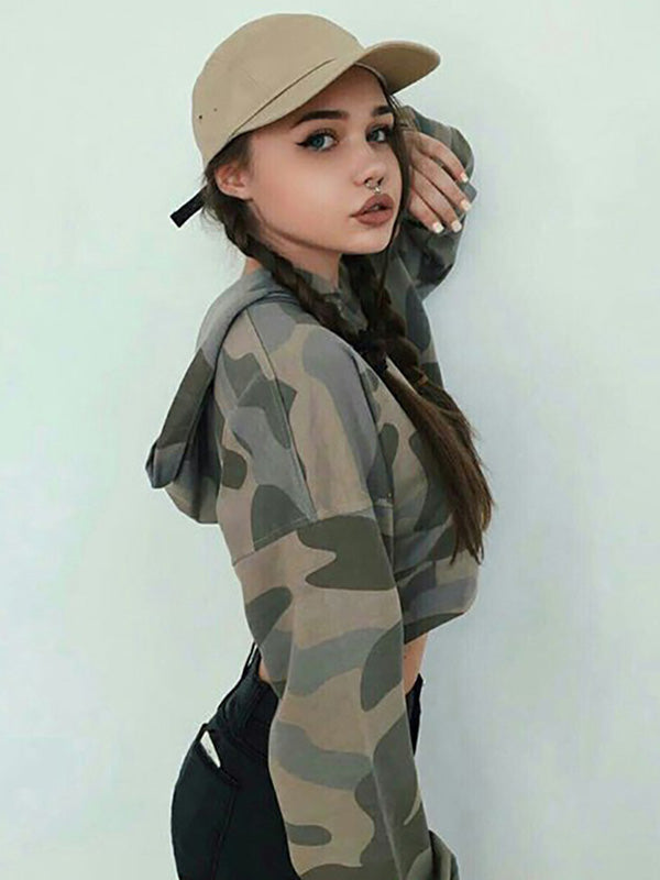 Camo Cropped Hoodies