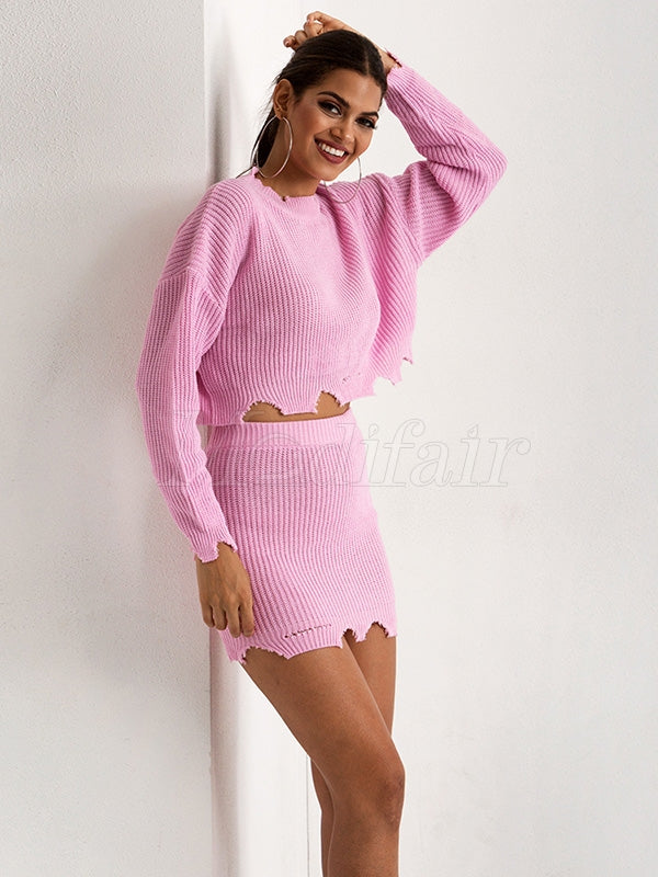 Cropped Holes Knitting Sweater&Skirt Suits