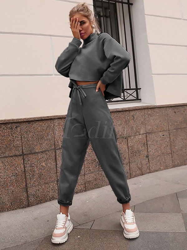 Empire High-Neck Tee&Drawstring Pants Suits
