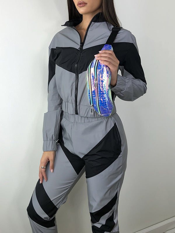 Patchwork Zipper Sport Jackets And Casual Pants Suits