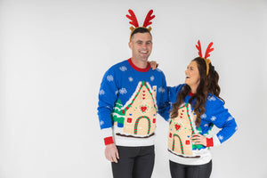 matching couples light up christmas jumpers