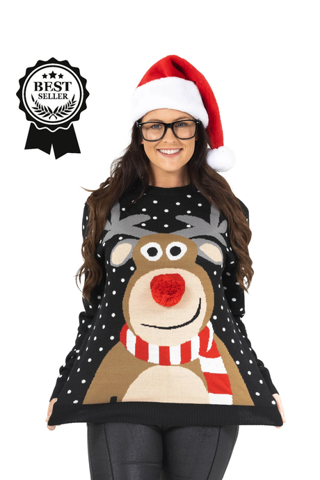Ladies 3D Rudolph Christmas Jumper