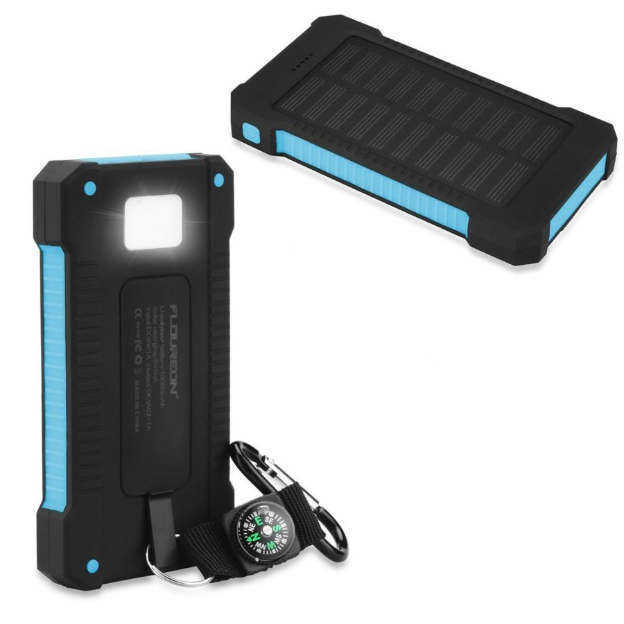 floureon solar power bank for camping and hiking