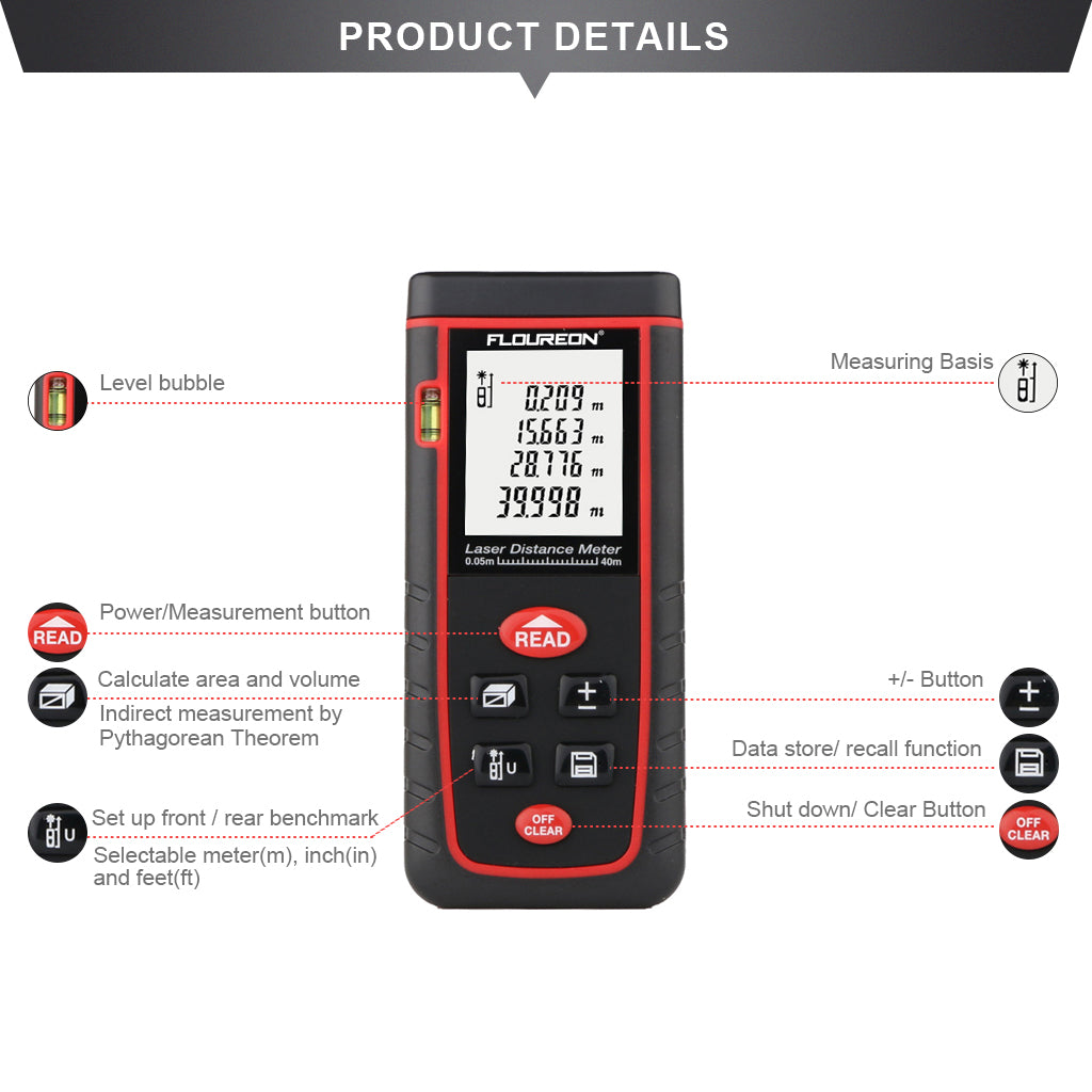 Laser Distance Meter 0.05 to 80m (0.16 to 262ft) High-precision Laser Distance Meter