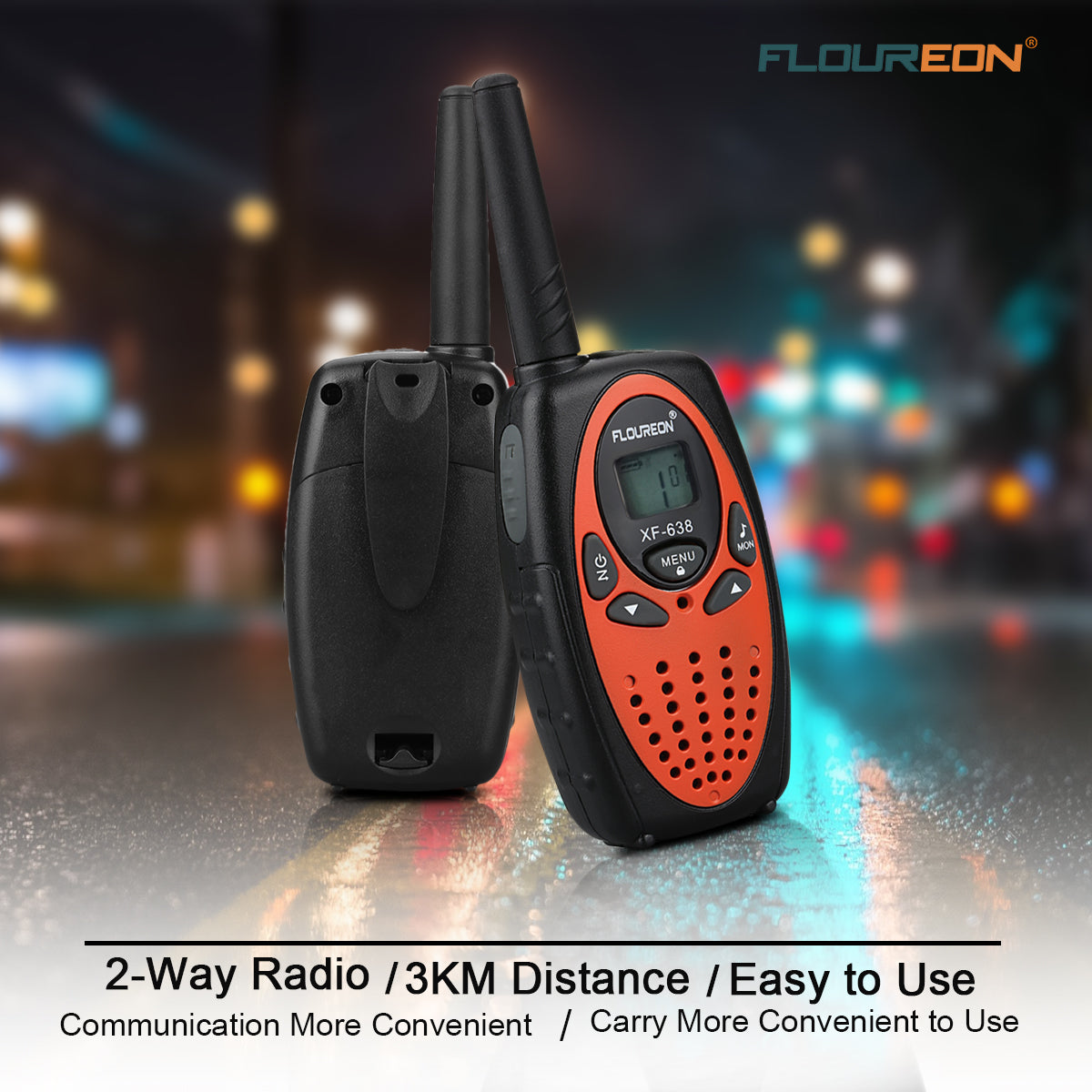 22 Channel Walkie Talkies UHF462-467MHz Two-Way Radio 3KM Interphone 2 Packs for kids adults