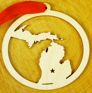 Michigan Wood Ornament Natural & Gold Ribbon