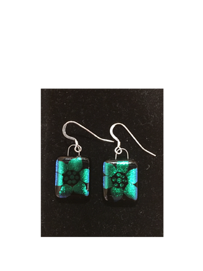 Black with Green Flower Etched High Glass Earings By Bobbie VanEck