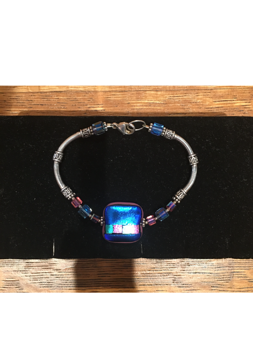 Blue and Pink Square High Glass Bead Bracelet By Bobbie VanEck