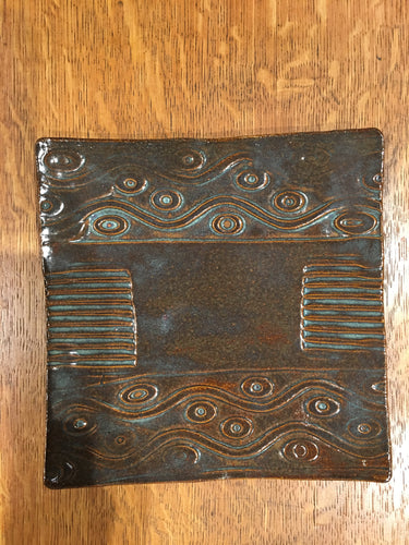 Brown Glaze Square Plate by Nobel Schuler
