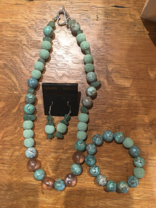 Green Bead Necklace Set by GG's Gems