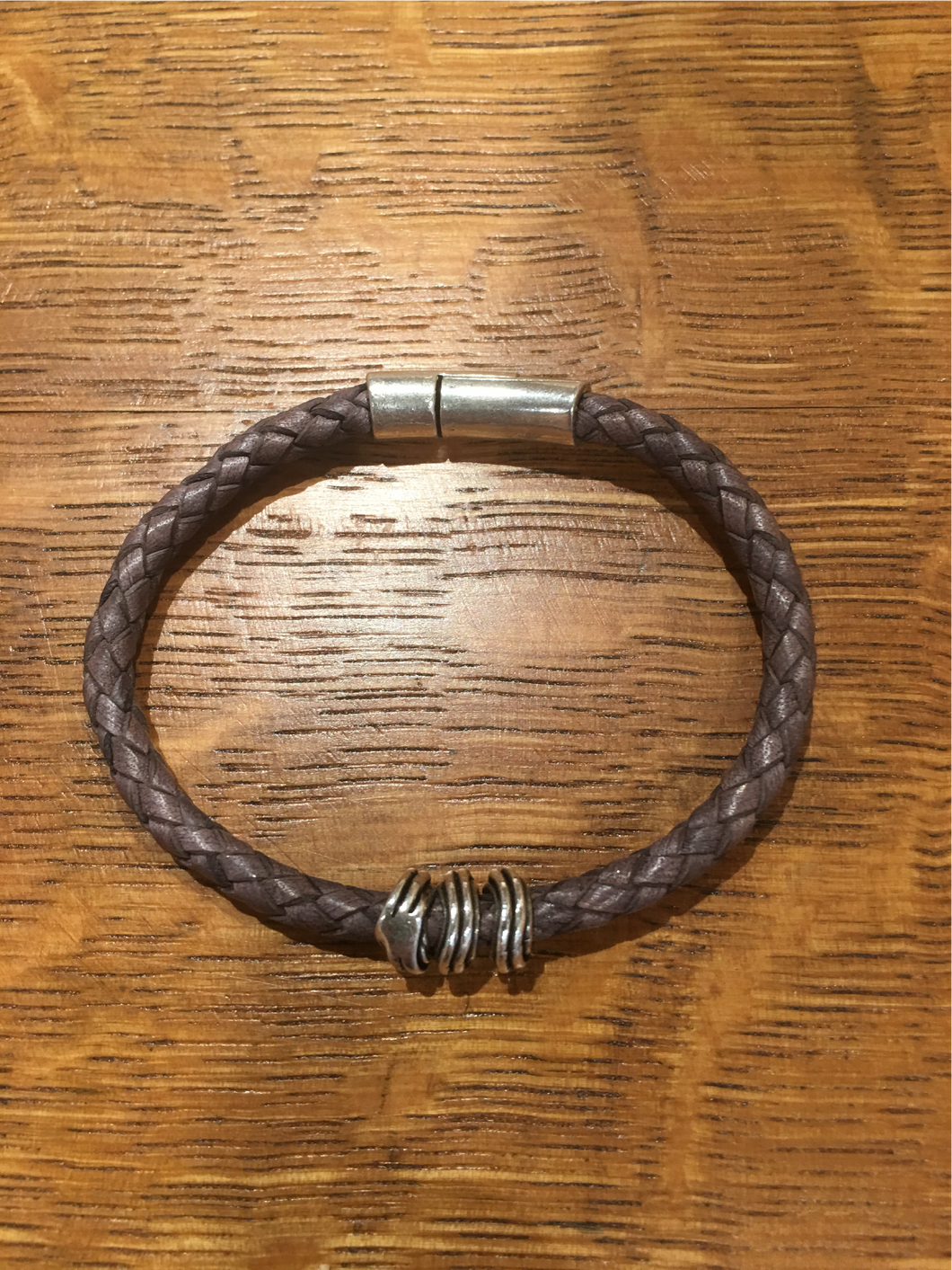 Grey Weave Leather Bracelet by GG's Gems