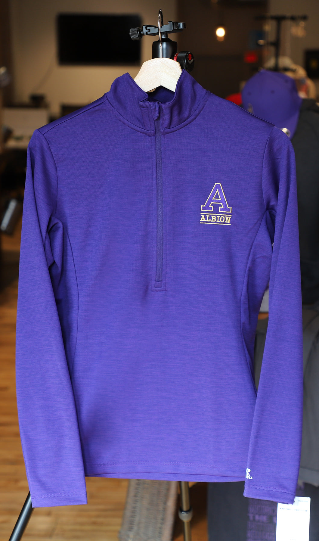 Performance 1/4 Zip Women's Jacket - Purple - Albion College Embroidered