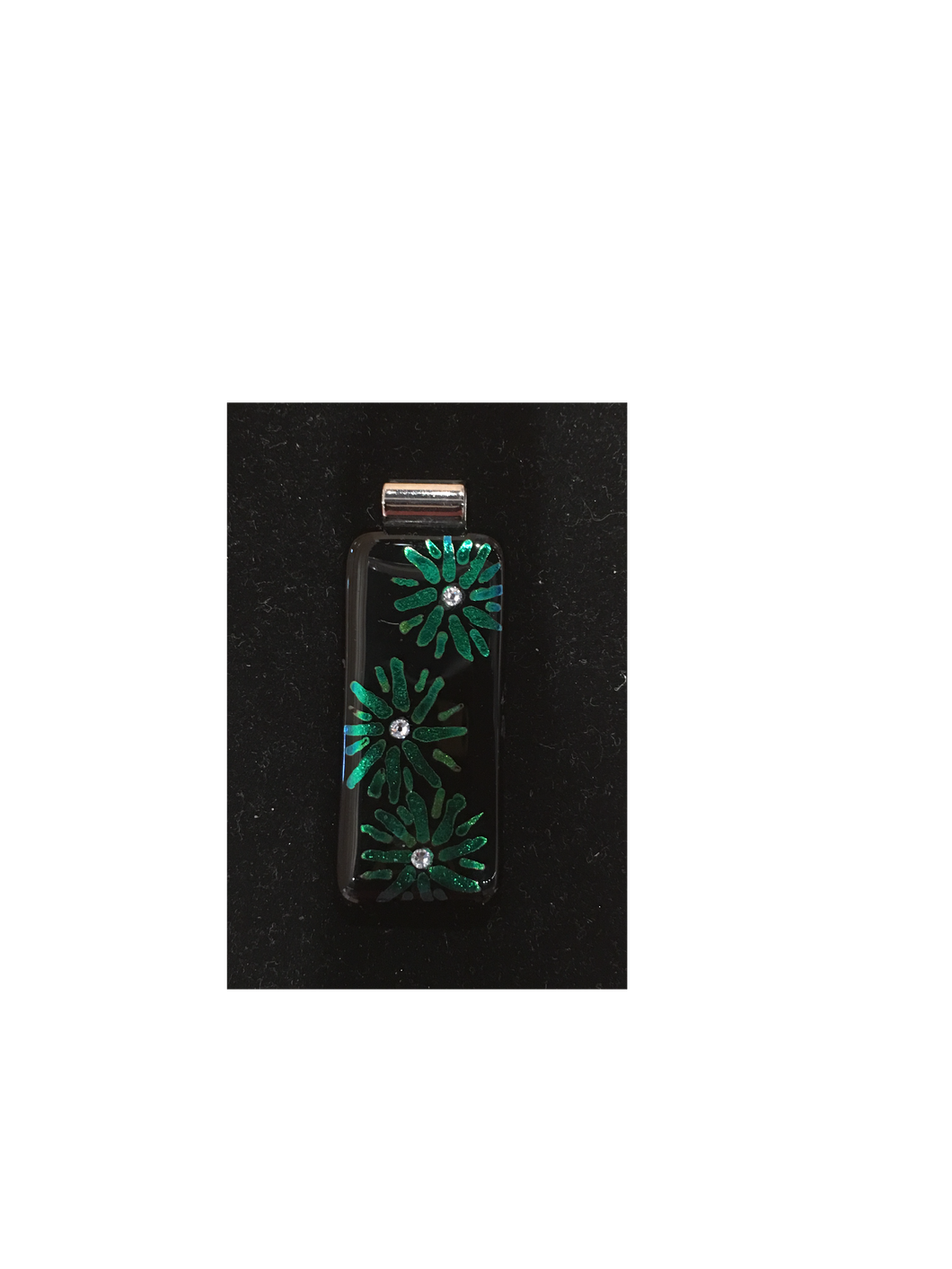 Black with Green Flower Etched and Cubic Zirconia High Glass Pendant By Bobbie VanEck