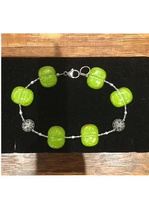 Lime Green Color High Glass Bead Bracelet By Bobbie VanEck