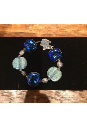 Metallic Blue Etched High Glass Bead Bracelet By Bobbie VanEck