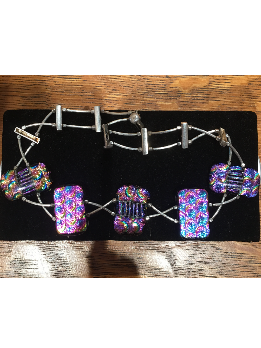 Multi Color High Glass Choker Necklace By Bobbie VanEck