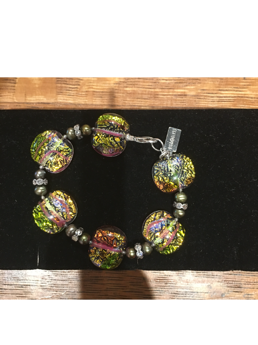 Multi Color Crinkle High Glass Bead Bracelet By Bobbie VanEck