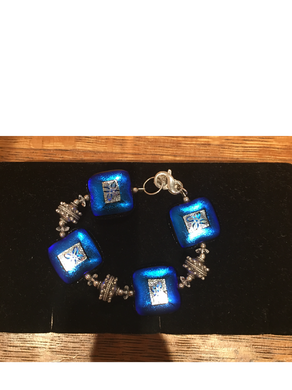 Blue Square Flower Etched High Glass Bead Bracelet By Bobbie VanEck
