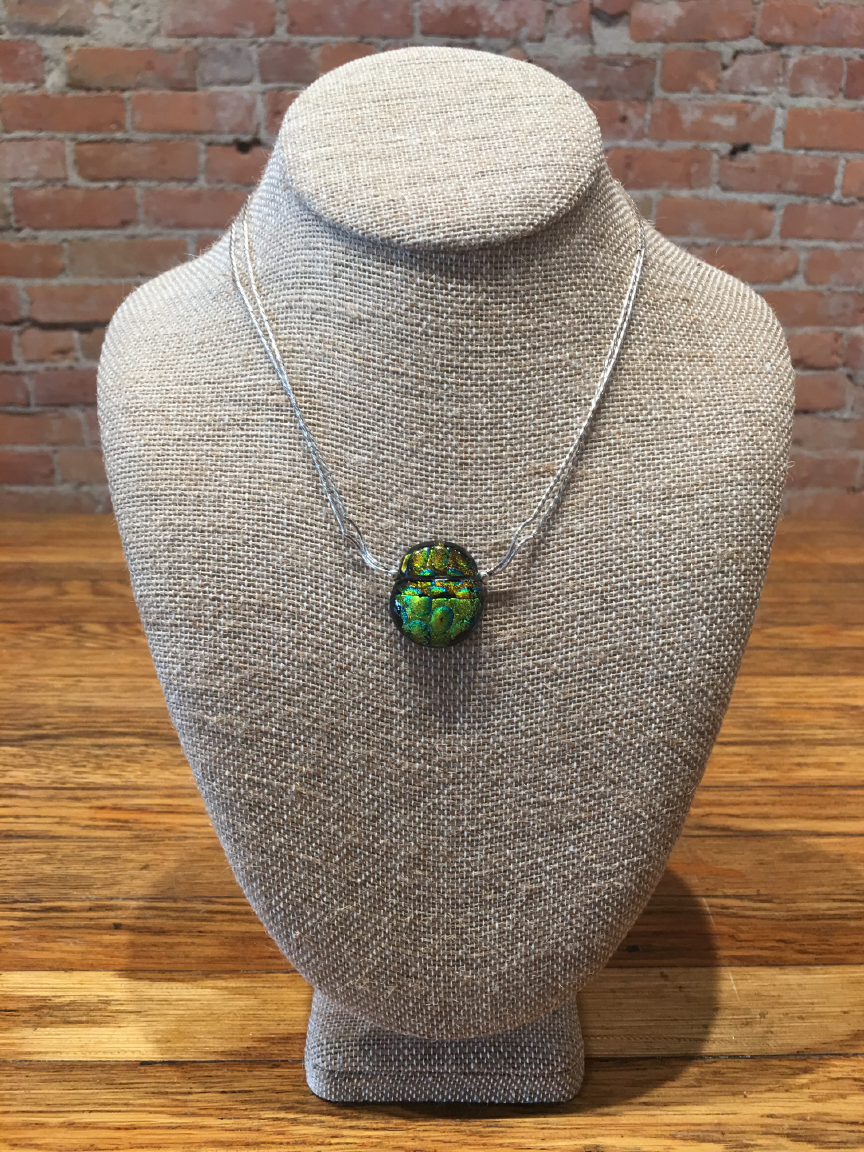 Sterling Silver Green High Glass Necklace By Bobbie VanEck