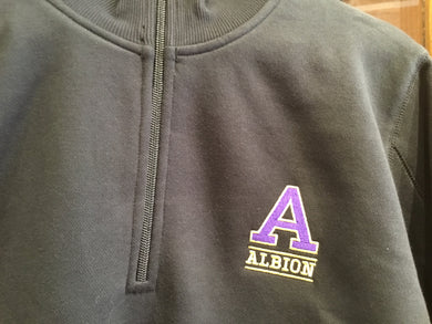 Knit Pullover Jacket for Women - 1/4 Zip Embroidered Albion College 'A'