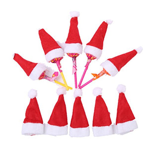 4306577f47966 10pcs Christmas Mini Red Santa Hats Lollipop Candy Cover Cap Christmas  Party Decor Desktop Decoration Ornaments