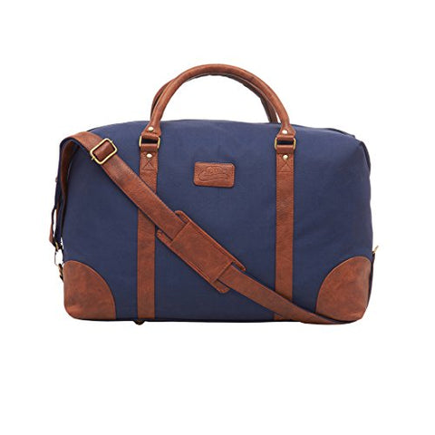 bdbc2d0cfe Leather World 46.2 Liter Blue 21 Inch PU Leather Nylon Duffle Bags with Zip  Closure Luggage