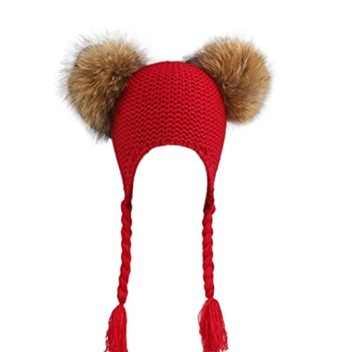 Baby Children Ball Cap Warm Winter Hats 2 Pom Pom Knitted Wool Christmas  gift (Red ... 59f5d109d8d