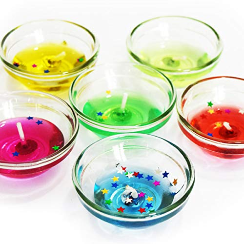 3 Large Glass Gel Candles for Diwali and Christmas Decor - Multi Color  Candle (Multicolor, Pack of 3)