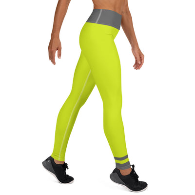 Grey and Lime Punch Yoga Leggings - ENTROO