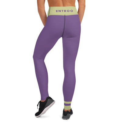 Pale Green and Purple Sapphire Yoga Leggings - ENTROO