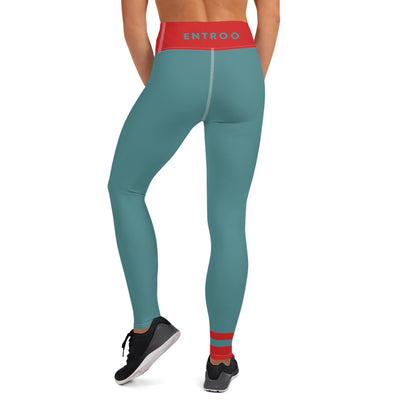 Teal and Fiery red Yoga Leggings - ENTROO