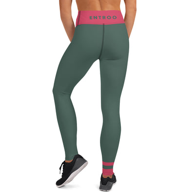 Hunter Green and Raspberry Yoga Leggings - ENTROO