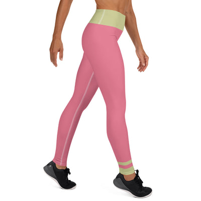 Pale Green and Bubblegum pink Yoga Leggings - ENTROO