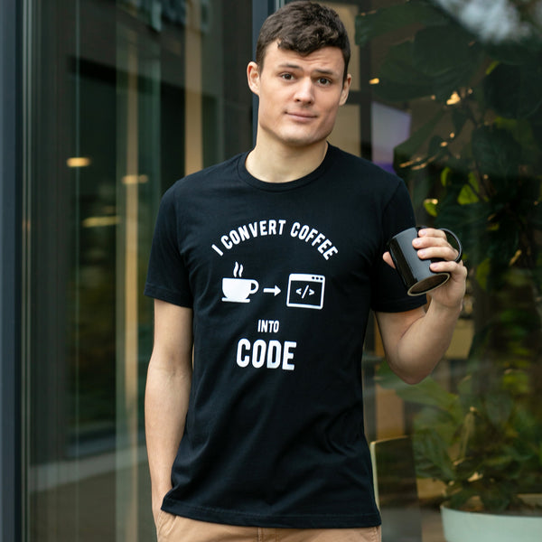 I Convert Coffee Into Code T-Shirt for Developers - Programmer Tees From Made4Dev.com