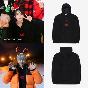 FILA X BTS - BOX Logo Boa Hooded T-shirt Black