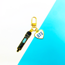 Load image into Gallery viewer, BTS Metal Microphones Keychain
