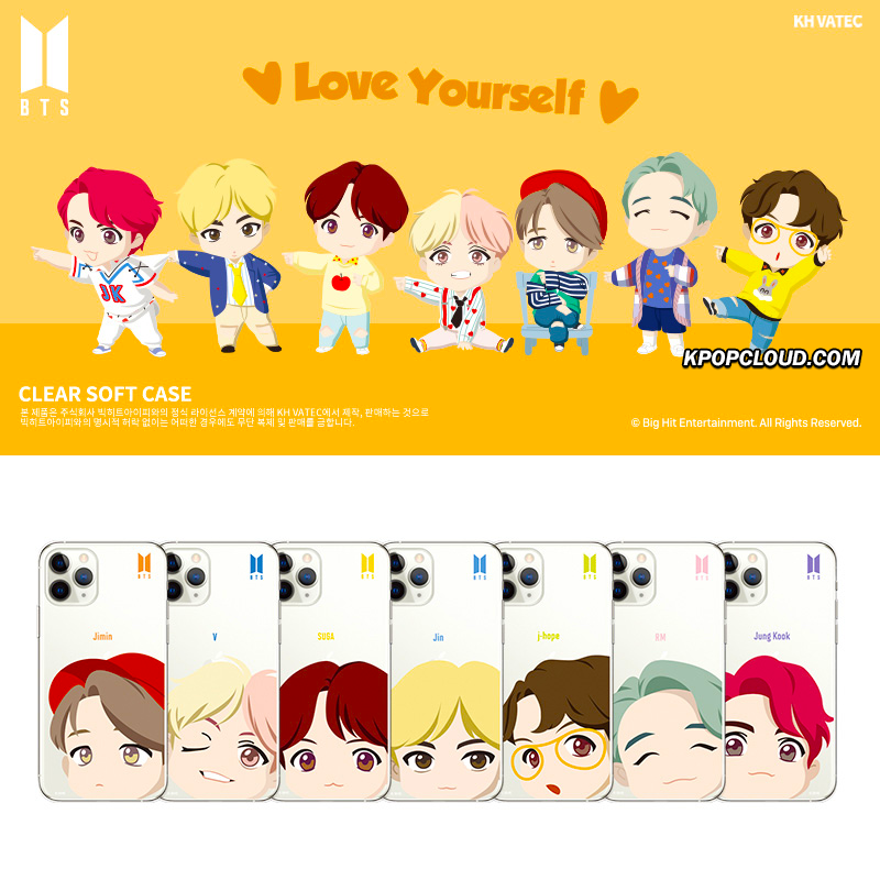 BTS OFFICIAL CHARACTER MOTION FACE Clear Soft Case (for Samsung)