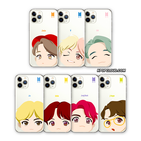 BTS OFFICIAL CHARACTER MOTION FACE Clear Soft Case (for iPhone)