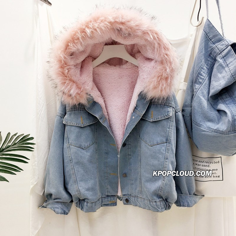 [AsianFashion] Faux Fur Denim Jacket
