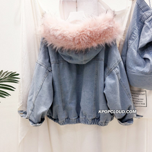 Load image into Gallery viewer, [AsianFashion] Faux Fur Denim Jacket