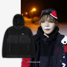 Load image into Gallery viewer, FILA X BTS - Heritage Bonding Hood Track Top Black