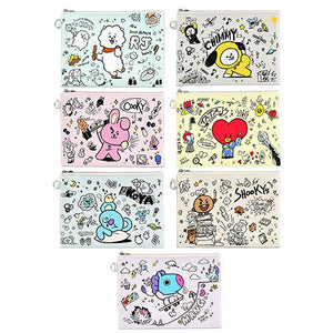 BT21 Official PU FLAT Pouch Doodle Version